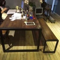 定做 美式铁艺防锈复古木质办公桌椅成套家具